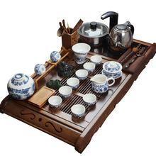 Kung fu tea set blue and white porcelain tea set ceramic set electromagnetic furnace chicken wing wood tea tray kung fu tea