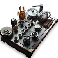 Ceramic tea set wood stone teaberries combination of kung fu tea set electromagnetic furnace stone tea tray