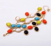 Free shipping, Multi layers Bracelet, spring color bracelet, resin beads bracelet