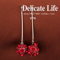 Rose tassel earrings married no pierced clip-on earrings long design accessories earring i106