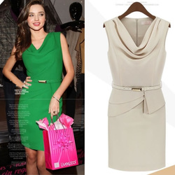 2013 solid chiffon elegant patchwork bow neck evening belt sleeveless night club slim pencil party ladies dress(China (Mainland))