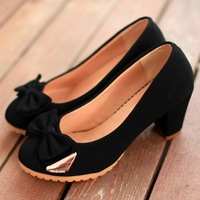 2013 NEW Fashion Women's Bow Charm Thick Heel Non-slip Comfort Sweet Round Head Hight Heel Shoes Ladies' Sexy Single Shoes