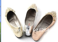 Womens Spike Crystal Studded Pumps Casual Slip On Shoes Slippers Ballet Flat New /free shipping +trackingnumber