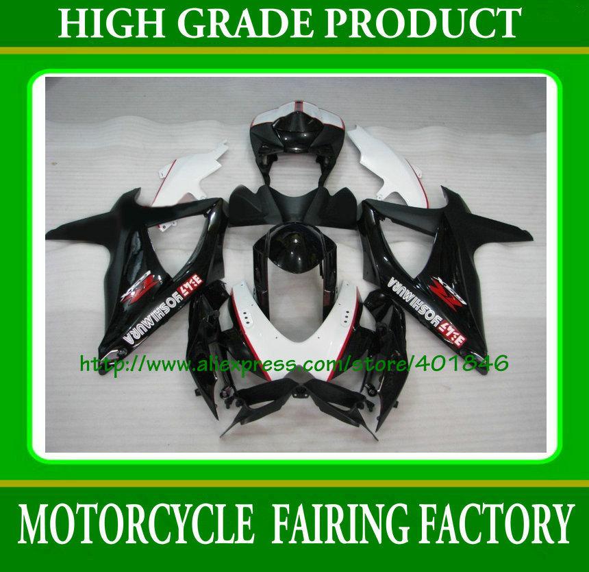 ABS plastic bright white/black fairings kit for SUZUKI K8 2008 2009 GSX R750 R600 high quality motorcycle sets 08 09 GSXR600/750(China (Mainland))