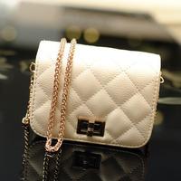 new fashion women's PU handbag chain plaid embroidery one shoulder small handbags