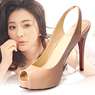 Ol nude color open toe high-heeled single shoes fashion high-heeled sandals banquet ultra high heels red sole shoes cl red(China (Mainland))