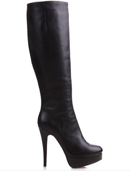 Cl black red sole ultra high heels water boots high-leg boots sexy boots stiletto red sole shoes(China (Mainland))