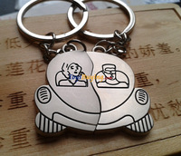 200pair/lot pair of bus car shape keyring for lover Novelty metal keyring logo customize +Fedex/EMS Free shipping