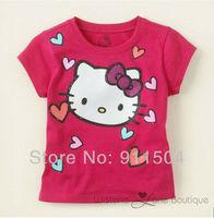 girls clothes children's t-shirt 100%cotton fashion hello kitty t-shirts short sleeve t shirt