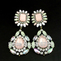 Free shipping retail ladies stone earring fashion elegant created stone ear studs /10*4.4cm/