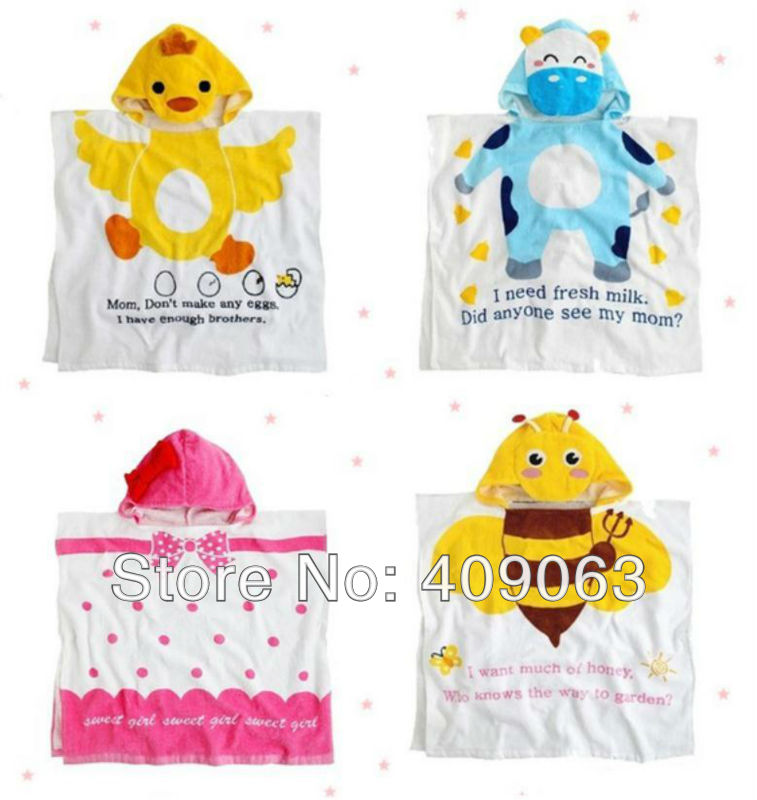 4pcs/lot cartoon cotton baby bathrobe hooded children' bath robe animal beach towel free shipping(China (Mainland))