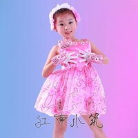 Child costume female child double small performance wear