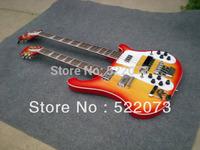Wholesale Cherry Burst 4003 Double Neck Electric Bass Guitar 412 Strings Ebony Board