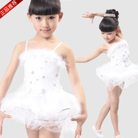 2013 child costume ballet skirt tulle dress white swan modern dance performance wear female child