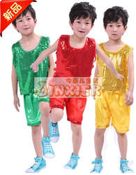 Child costume male child paillette aerobics performance wear 100 performance wear(China (Mainland))