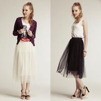 Summer expansion puff skirt Women's bust elegant lace skirt high waist gauze long basic pleated skirt