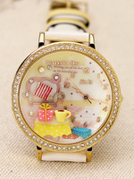Mini table three-dimensional handmade polymer clay watch princess sofa double layer cartoon wristwatch for women