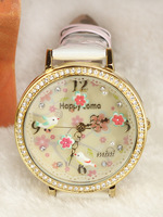 Mini table three-dimensional handmade polymer clay watch bird flower cartoon wristwatches for women