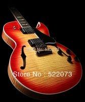 new arrival Vintage Sunburst 335 Semi Hollow Jazz Electric Guitar ebony fingerboard