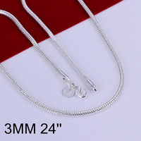 N192-24 high quality! free shipping wholesale 925 silver necklace, 925 silver fashion jewelry 3mm Snake Bone Necklace-24 N1