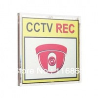 8x8cm Solar Powered Flashing CCTV REC Warning Sign