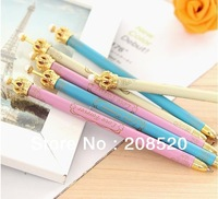 free shipping wholesale (30pcs/lot) cute kawaii korean plastic pearl crown ball point pen as gift pen 3 colors/0.5mm blue lead
