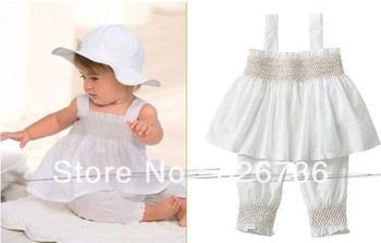 White baby suit: lovely hat + suspender skirt + pants/ 3 pieces set: hat + dress + pants/ 2013 new design