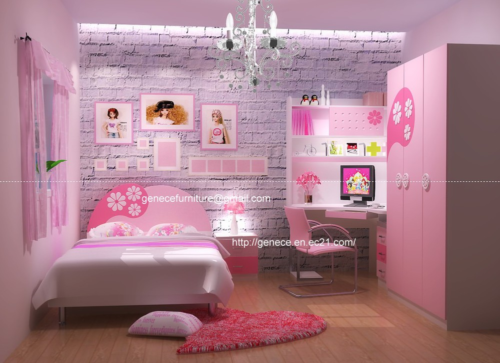 girls pink bedroom set twin or queen bed childrens furniture(China (Mainland))
