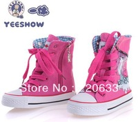 Free shipping 2013 high canvas hand-painted girls shoes hot sale fashion children's lace-up sneakers   spring top quality 371