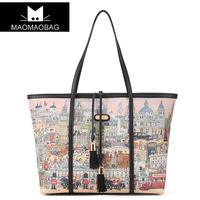 Cat bag fashion doodle 2013 shopping bag casual one shoulder women's handbag m32-014