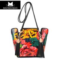 Duomaomao women's handbag vintage oil painting bag flower tassel messenger bag all-match m06-132 formal