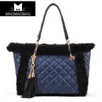 Cat bag 2013 women's handbag limited edition rabbit fur dimond plaid tassel one shoulder handbag m01-173