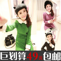 2013 spring fashion unique turn-down collar patchwork medium-long thin sweater long-sleeve top