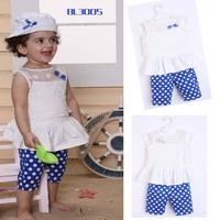 Baby Girl's Summer Clothings Cute Jacket + Bule Dot Pants + Hat 3pcs/Set Free Shipping