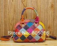 100% Genuine Leather Multi-Colored Patchwork Women Lady Fashion Shoulder Tote bag Handbags
