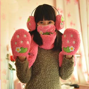 Onsale cute lovely strawberry lovely multifunction scarf, scarf gloves mask and earmuff set(China (Mainland))