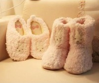 Onsale birthday gifts cute lovely pink rabbit cotton-padded home thermal slippers footwear