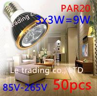 50Pcs/lot Par20 Led Lamp E27 Dimmable 3X3W 9W Spotlight Led Light Led Bulbs 85V-265V Energy Saving Free shipping