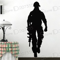 Free Shipping Wholesale Wall stickers Home Garden Wall Decor Vinyl Removable Art Mural Home decor Soldier D-52