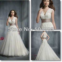 Hot Sale Sexy V Neck Style Sash Free Shipping Ball Gown Wedding Dress 2013 Bridal Any Size/Colour
