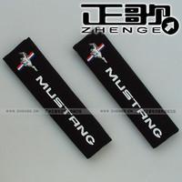free shipping 1pair Seat belt shoulder Mustang car logo safety belt cover 1pair=2pcs