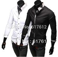 2014 free shipping Spring casual fashion men's long sleeve shirt hit the bar stylish mens shirts designer stand-up collar XXL