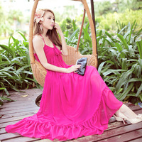 free shipping Bohemia beach dress halter-neck chiffon one-piece dress mopping the floor dress full