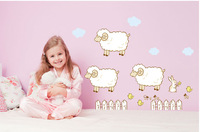 Free shipping Removable vinyl wall stickers Cartoon sheep home decor wall decals for kids rooms JM8206