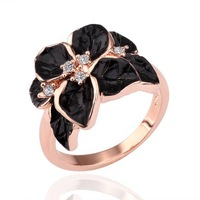 Wholesale Fashion Jewelry Black Flower Ring 18K Gold Plated Ring K Golden Plating Platinum Health Nickel Free 18KGP R123
