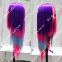 Rainbow cos wig HARAJUKU wifing gradient color long straight hair wig