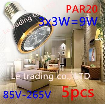 5Pcs/lot Par20 Led Lamp E27 Dimmable 3X3W 9W Spotlight Led Light Led Bulbs 85V-265V Energy Saving Free shipping