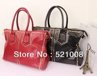 Fashion Rivet  women shoulder bag Messenger bag Tote bag Red&Black - Free shipping
