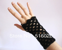 Fingerless Gloves for women. Hand crocheted hand warmers in black. Womens accessories 2pair/lot