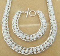wholesale fashion bracelet+nacklace big chain 925 Silver